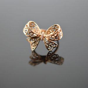 Ροζ χρυσό δαχτυλίδι 14Κ  #005