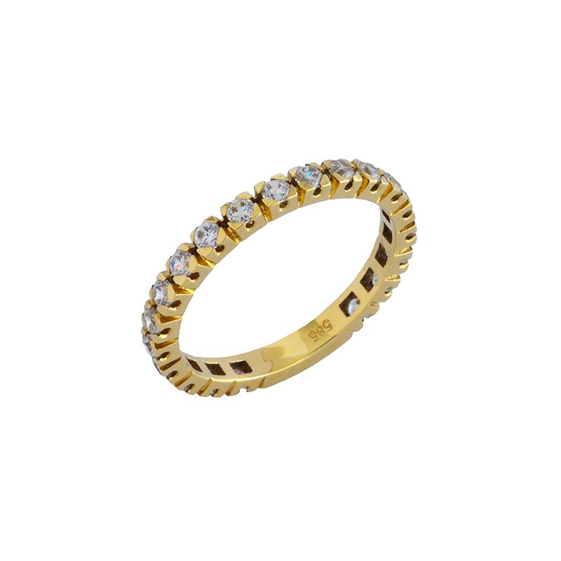 Ολόβερο δαχτυλίδι Κ14 με ζιργκόν ΚΔ00010