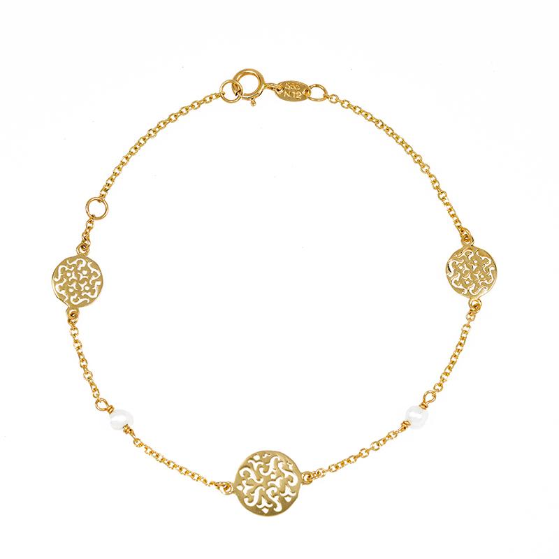 Χρυσό βραχιόλι Κ14 με μαργαριτάρια ΧΒ00015