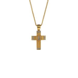 Χρυσός σταυρός Κ14 με ζιργκόν ΧΣ00019