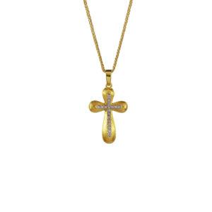 Χρυσός σταυρός Κ14 με ζιργκόν ΧΣ00020