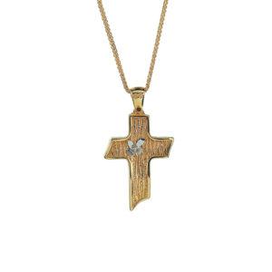 Χρυσός σταυρός ματ Κ14  ΧΣ00022