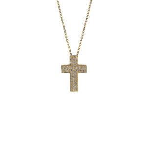 Χρυσός σταυρός Κ14 με ζιργκόν  ΧΣ00025