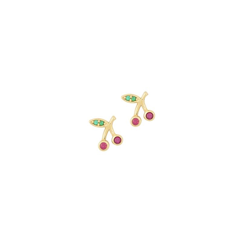 Χρυσό σκουλαρίκι κεράσι 14Κ   ΧΕ008