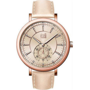 Visetti Confidence Crystals Rose Gold Beige Leather Strap PE-909RL