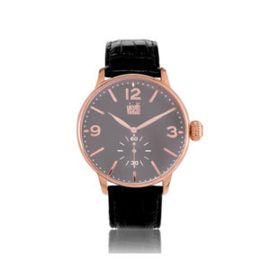 Visetti Aviator Rose Gold Black Leather Strap TB-624RB