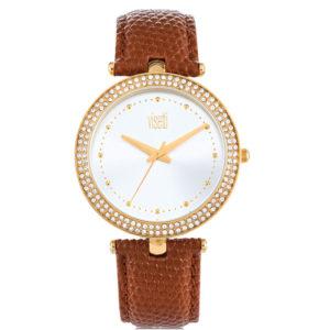 Visetti Fantasia Crystals Gold Brown Leather Strap PE-901GK