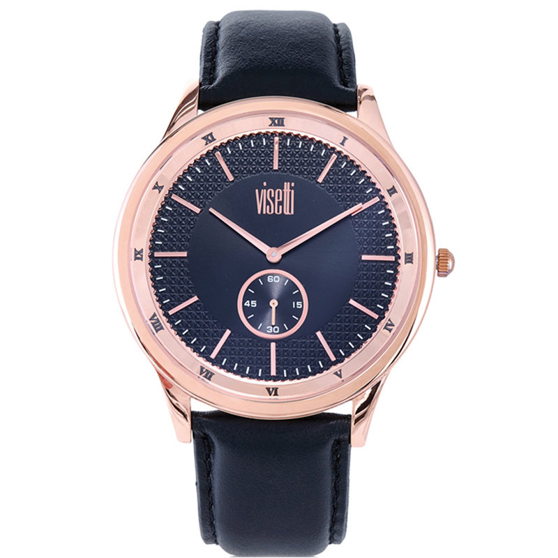 Visetti Glorious Rose Gold Black Leather Strap ZE-625RB