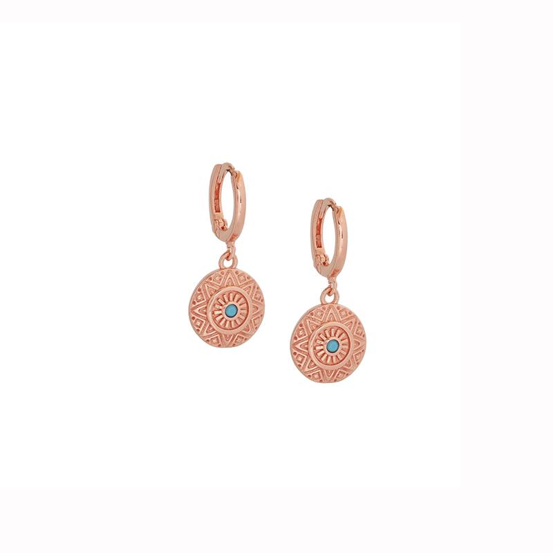 Ροζ Επιχρυσωμένα Ασημένια Σκουλαρίκια AE0004