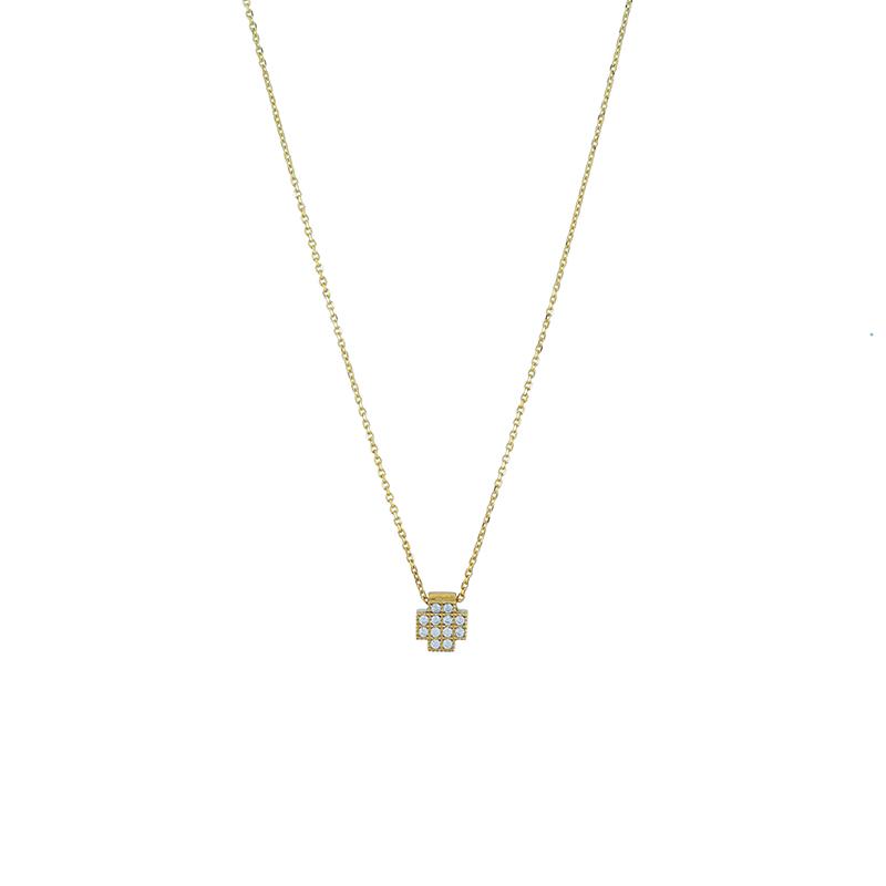 Χρυσός σταυρός 9κ με ζιργκόν ΧΚ00081