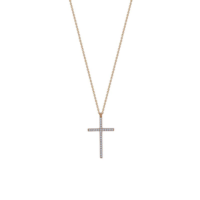 Ροζ χρυσό κολιέ με σταυρό 9κ  ΧΚ00082